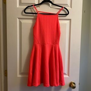 Neon pink skater dress
